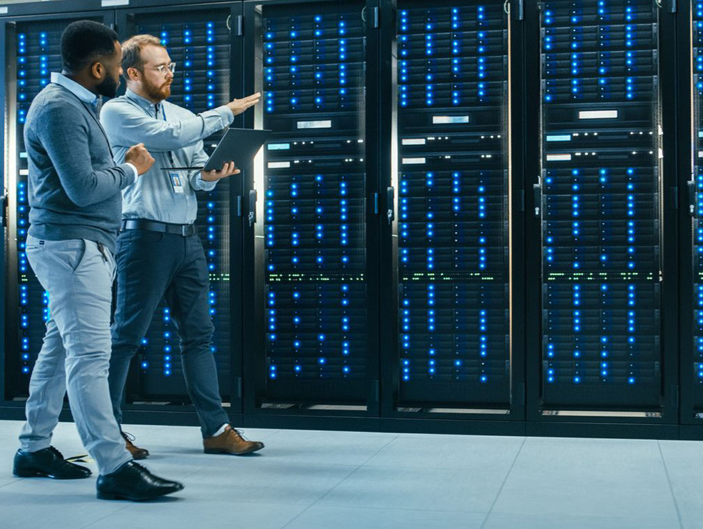 IT Technicians are Talking in Data Center