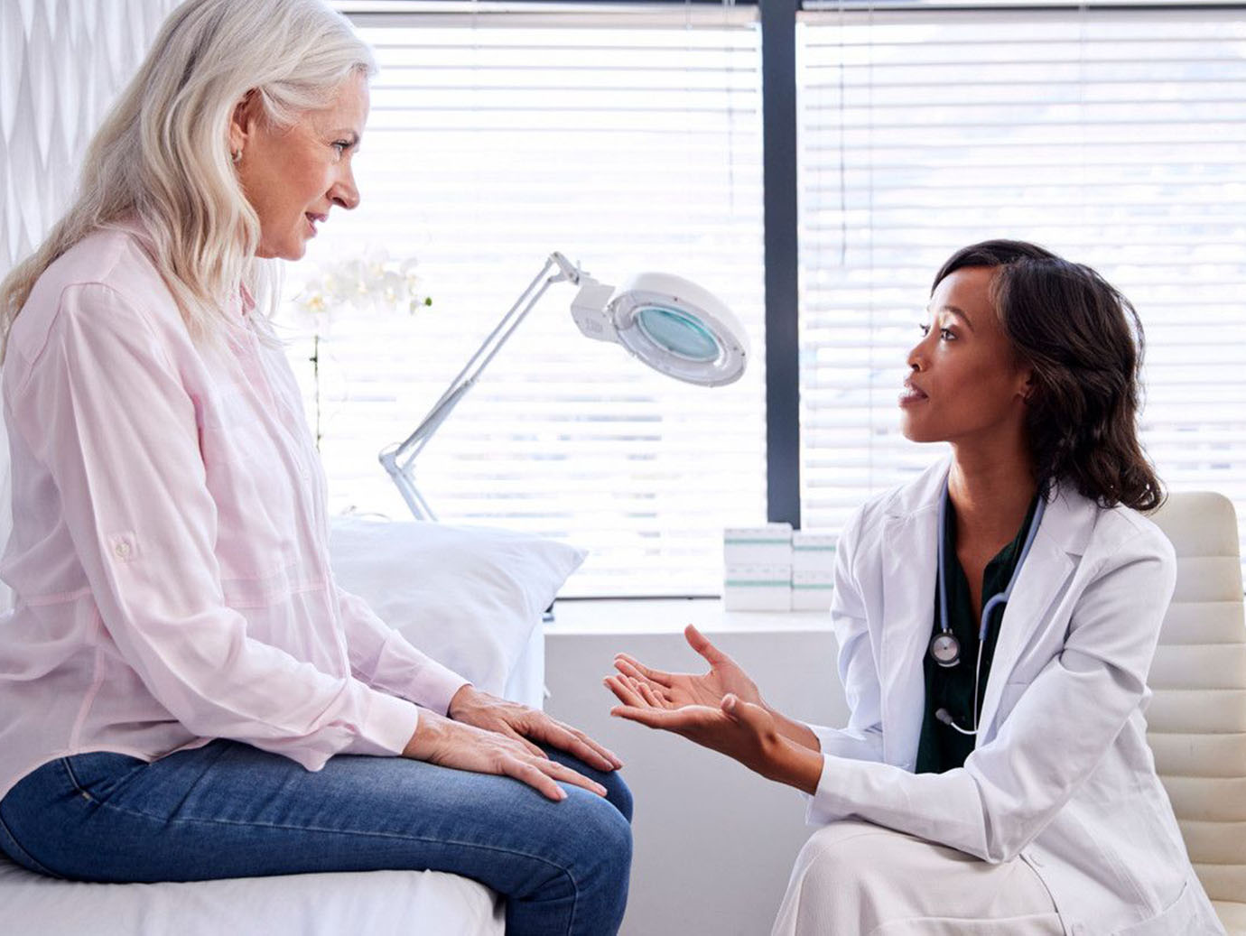 A woman consulting a doctor