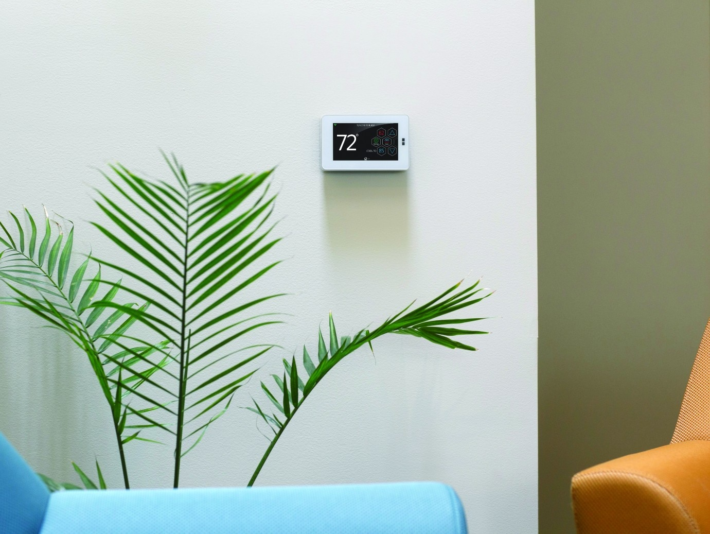 Cozy home uses a YORK Hx3 WiFi Touch Screen Thermostat for quick and easy temperature control from anywhere.